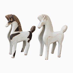 Caballos de cerámica de Bruno Gambone, años 70. Juego de 2