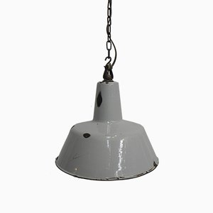 Industrial Hanging Lamp with Enamelled Shade, 1950s