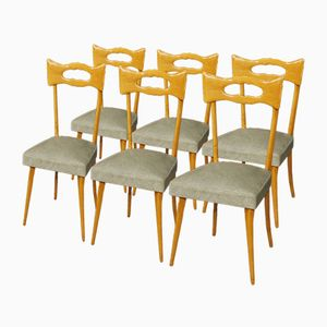 Vintage Italian Beech Chairs, Set of 6