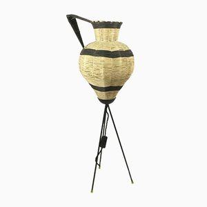 Lampada tripode in rafia, anni '50
