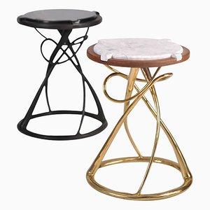 Tables d'Appoint Hourglass en Laiton par Misaya, Set de 2