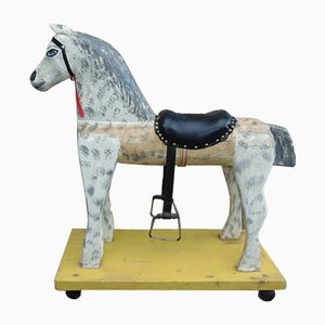German Wooden Rocking Horse, 1960s