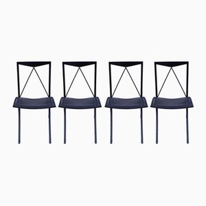 Black Leather Dining Chairs from Cattelan Italia, 1970s, Set of 4