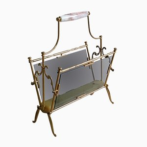 Brass and Onyx Magazine Rack, 1960s