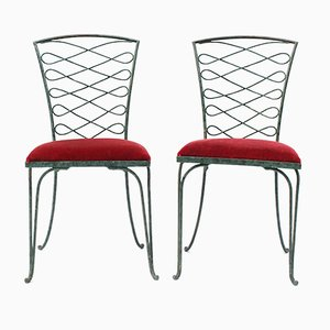 Verdigris Iron Chairs by René Prou, 1930s, Set of 2