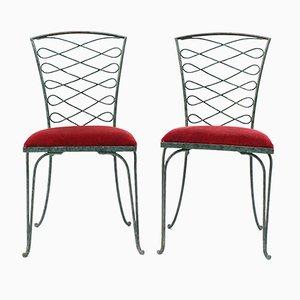 Verdigris Stühle aus Eisen von René Prou, 1930er, 2er Set