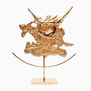Gilded Taurus Zodiac Sculpture by Philippe Cheverny, 1970s