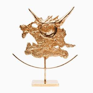 Scultura zodiacale Toro dorata di Philippe Cheverny, anni '70