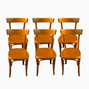 Italian Bistro Beech Chairs, 1940s, Set of 6