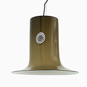 Lámpara colgante de cristal de Murano en blanco y marrón de Alessandro Pianon para Vistosi, años 60