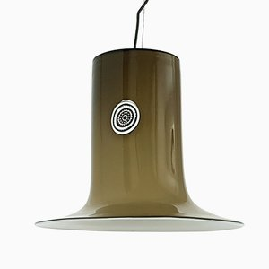 White and Brown Murano Glass Pendant Light by Alessandro Pianon for Vistosi, 1960s