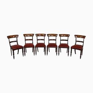 Sedie antiche in mogano intarsiato, fine XIX secolo, set di 6