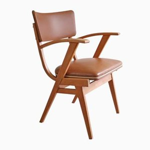 Vintage Beech and Skai Armchair from Stevens, 1950s