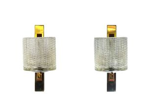 Brass & Wood Sconces, 1960s, Set of 2