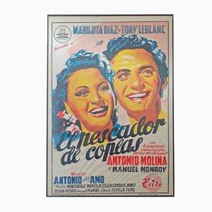 Spanisches El Pescador De Coplas Filmplakat, 1950er