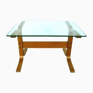 Mesa auxiliar Siesta de vidrio y teca de Ingmar Relling para Westnofa, años 60