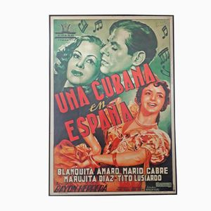 Póster español de la película Una cubana en España, años 50