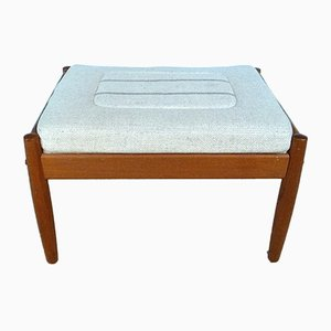 Danish Mid-Century Teak and Wool Ottoman, 1960s