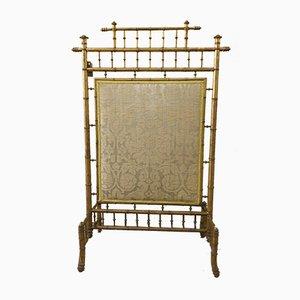 Vergoldeter französischer Vintage Kaminschirm in Bambusoptik