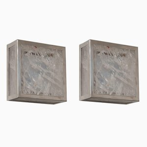 Appliques Murales Classique Cube en Cristal de Roche par Demian Quincke, Set de 2