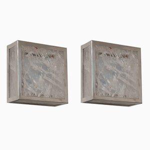 Classic Cube Wandlampen aus Kristallglas & Fels von Demian Quincke, 2er Set