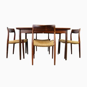 Danish Rosewood Dining Room Set by Niels Otto Moller for J.L. Møllers, 1950s, Table and 4 Chairs