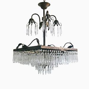 Lámpara de araña en cascada vintage cuadrada de latón