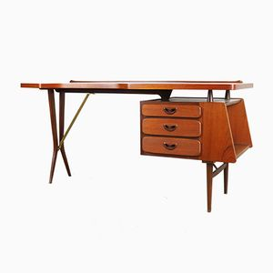 Mid-Century Teak Desk by Louis Van Teeffelen for WeBe, 1950s