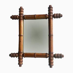 Französischer Vintage Spiegel in Bambusoptik
