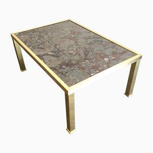 Table Basse Vintage en Marbre, Fossile & Laiton