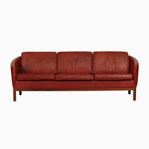 Vintage Danish Brick Red Leather & Rosewood 3-Seater Sofa, 1970s