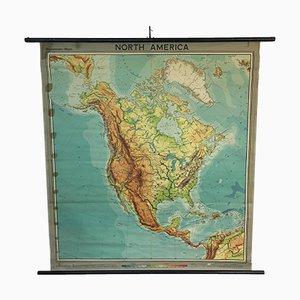 Vintage Schul-Wandkarte von Nordamerika von Westermann