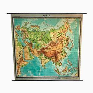Große Vintage Schul-Wandkarte von Asien von Westermann
