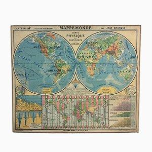 Französische Schul-Wandkarte der Welt von Hatier, 1955