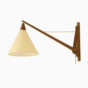 Vintage Scandinavian Solid Teak Wall Lamp
