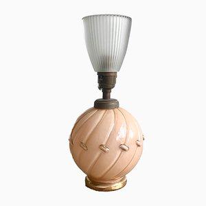 Lámpara de mesa francesa vintage de vidrio melocotón