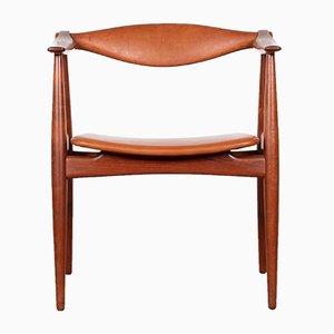 CH34 Stuhl aus Teak und kastanienbraunem Leder von Hans J. Wegner für Carl Hansen & Søn, 1960er