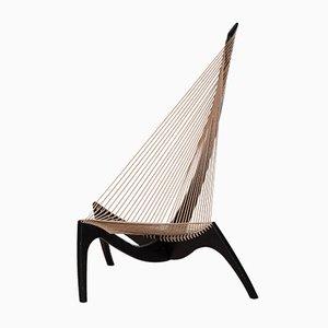 Poltrona Harp nera di Jørgen Høvelskov per Jørgen Christensens, anni '60