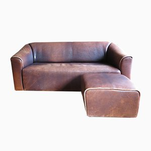 DS 47 Three-Seater Sofa & Ottoman in Thick Neck Buffalo Leather from de Sede, 1970s