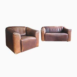 DS 47 2-Sitzer Sofa & Sessel aus dickem Büffelleder von de Sede, 1970er
