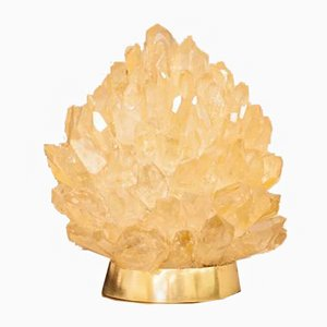 Lámpara de mesa Small Liberty de cuarzo natural en ámbar de Demian Quincke