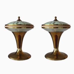 Lámparas de mesa de latón pequeñas, años 50. Juego de 2