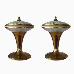 Petites Lampes de Bureau en Laiton, 1950s, Set de 2