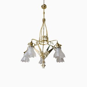 Jugendstil Chandelier with Original Glass, 1906