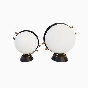 Lámparas de mesa Mid-Century de vidrio y latón de Arlus, años 50. Juego de 2
