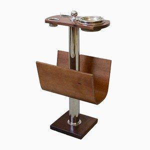Revistero de madera con cenicero de cromo, años 70