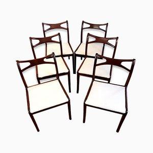 Vintage Esszimmerstühle aus Mahagoni mit geschwungenen Rückenlehnen, 6er Set