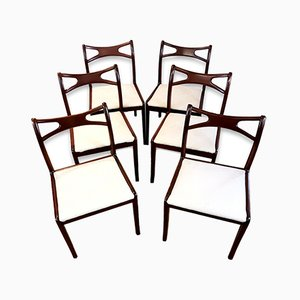 Vintage Mahogany Curved Back Dining Chairs, Set of 6