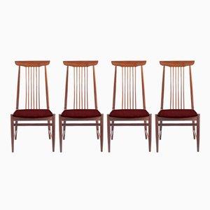 Personalisierbare dänische Vintage Stühle mit hohen Rückenlehnen, 4er Set