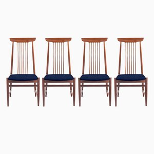 Customizable Mid-Century Danish Chairs with a High Back, Set of 4